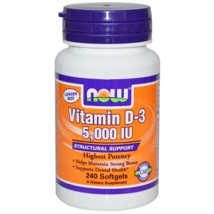 Now Foods, Vitamin D-3, 5,000 IU, 240 Softgels