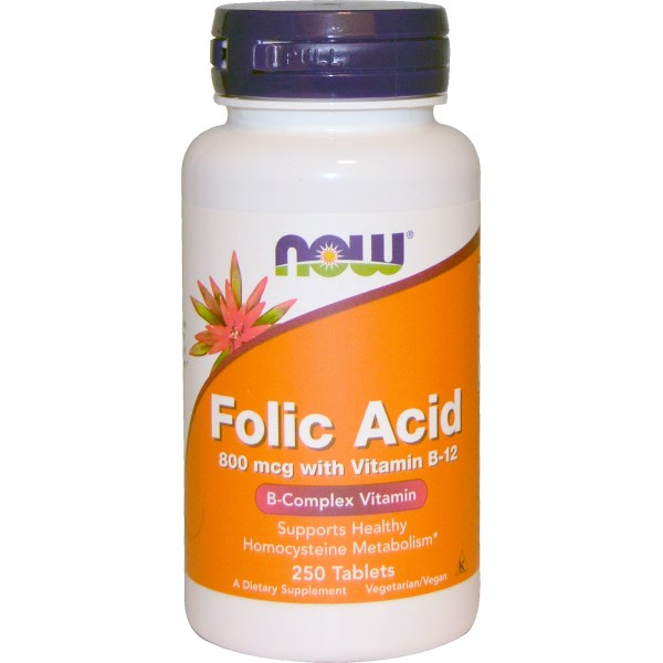 Now Foods, Folic Acid with Vitamin B-12, 800 mcg, 250 Tablets | Peacefrog